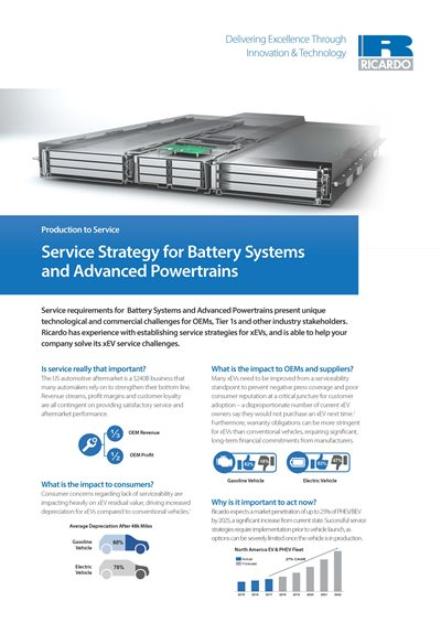 Service Strategy for Battery Systems and Advanced Powertrains